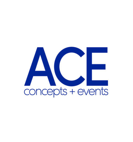 Blauw logo ACE concepts + events