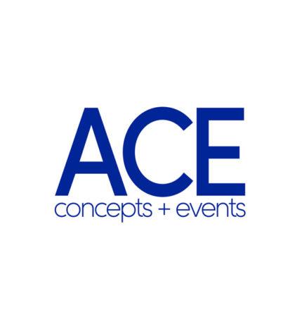 Blauw logo ACE concepts + events