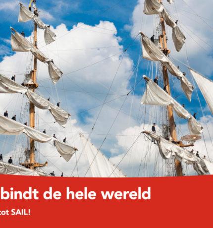 Bemanningsleden van een schip die in de masten staan