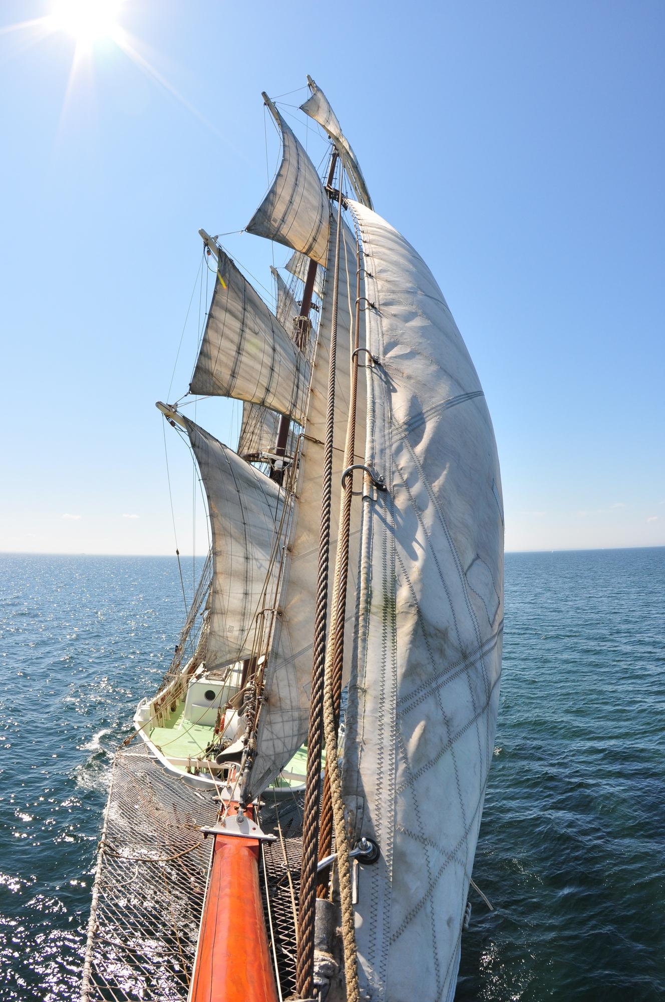 De masten van de Artemis staan vol in de zon en wind