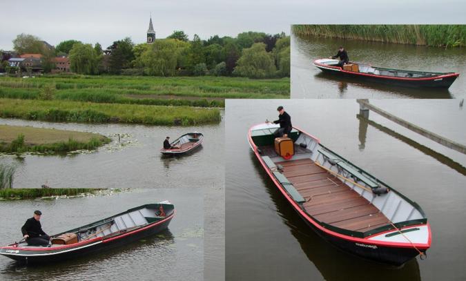 Man die een sloep bestuurd in het water = Stichting Langedijk Waterrijk
