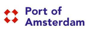 Port of Amsterdam in blauwe tekst met rood logo